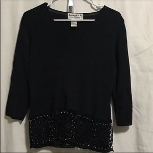Joseph A. black sweater with jewels on hem